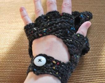 Crochet Black Gloves