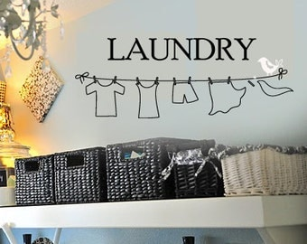 LAUNDY Room Clothes Line with LIttle Bird Removable Home VInyl Wall Lettering Quotes Words Decal  Large Size Options
