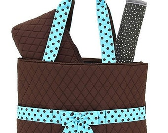 Personalized Brown and Teal Quilted Diaper Bag