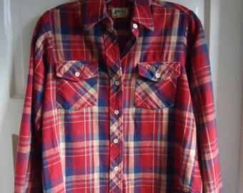 Vintage 70s REI Womens Cotton Flannel Plaid Shirt sz XS