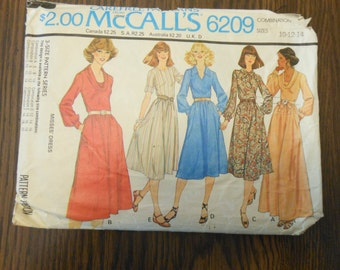 1978 McCalls Pattern 6209 Sizes 10-12-14 Misses Dresses with Gathered Skirt and side seam pockets- McCalls Pattern