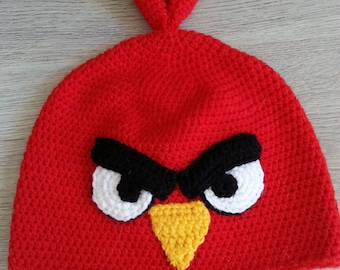 FREE SHIPPING Red Angry Bird Crochet Child Hat