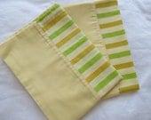 "Vintage Pillowcase Pair - Yellow and Green Stripes - 29"" x 20"""