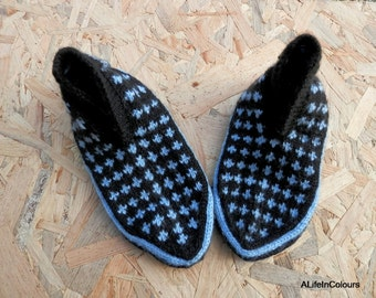 Turkish Anatolian hand knitted women's ice blue and black colour slippers, slipper socks, house shoes.