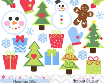 INSTANT DOWNLOAD, Christmas Clipart for personal and commercial use, snowman clipart, christmas tree clipart, present clipart