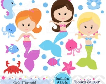 INSTANT DOWNLOAD, Mermaid Clipart and Vectors for Personal and Commercial Use