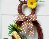 PRE-ORDER Bunny Wreath - Easter Wreath - Easter Decoration - Easter Bunny Wreath - Spring Wreath - Summer Wreath - Easter Door Decoration