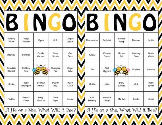 60 Baby Shower Bingo Cards