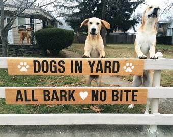Metal Yard Sign Dogs Bark