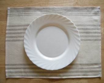 12  Square Pure Flax Linen Placemats - Natural table linens - gray and off white stripes - Kitchen Linens, Dining, Bar