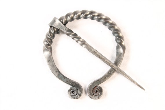 Celtic Penannular Brooch, iron, made by blacksmith, hand forged steel, great for SCA, cloaks and knitted garments