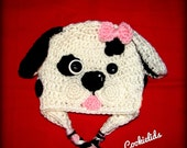 Boy or Girl Dalmatian Dog hat with earflaps
