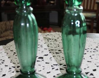 Beautiful Art Deco Green Art Glass Candlesticks / Bud Vase