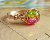 Two Toned Crackle Glass Wire Wrapped Ring, 14kt Gold-Filled Jewelry