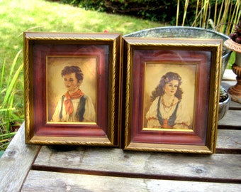 Set of two vintage frames with girl and boy images, lovely for a children's room or as part of a collection vintage images