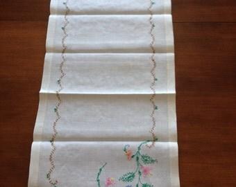 Vintage - Linen - Table Runner - Embroidered Cross Stitched - Floral Design