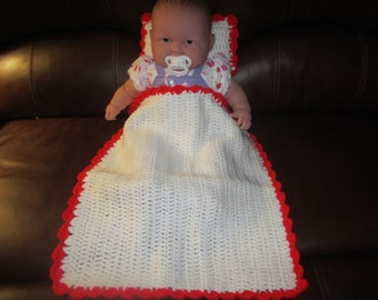 White and Red Baby Doll Blanket and Pillow Set