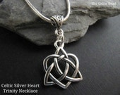 Celtic Silver Trinity Heart Necklace