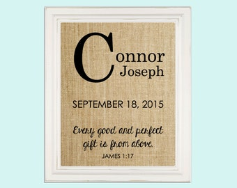 baby birthday burlap print baby shower gift james 1 17 bible verse