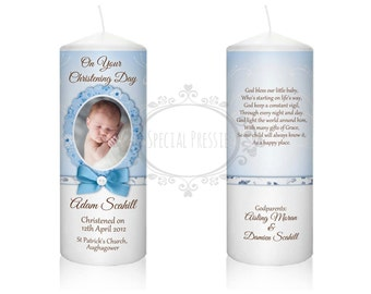 Personalised Christening Baptism Candle Baby Boy Baby Girl Godparents gift