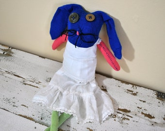 Rag Doll, Sock Animal Bunny, Hand-Stitched, Made with all Reclaimed and Vintage Clothing, Plush, Sustainable Gift, Up Cycled Hipster Toy
