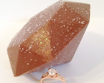 Sparkling Ring and Handcrafted Chocolate - Giant Chocolate Diamond with Rose Gold Gemstone Ring, Unique Gift