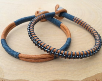 Mens Bracelet Set, Leather Bracelet, Guys Jewelry, Stacking Bangle, Weathered Leather, Rugged, Perfect Gift for Him