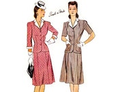 1940s Dress Pattern Simplicity 4658, 2 Piece Dress: Jacket, Skirt, Detachable Cuffs Collar, Easy to Sew, Vintage Sewing Pattern Bust 34