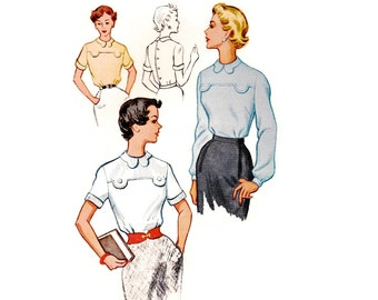 1950s Blouse Pattern, McCall's 9652, Tab Front Yoke Detail & Shaped Collar, Back Buttoning, 1953 Vintage Sewing Pattern, Bust 32, UNCUT