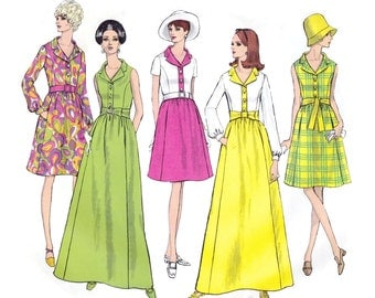 1970s Dress Pattern, Vogue 1942, A-Line Shirtdress in Street & Evening Lengths with Collar and Belt, Vintage Sewing Pattern, Bust 32.5