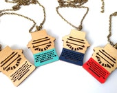 Typewriter Necklace - Wooden Jewellery - Laser Cut - Book Lover - Writers Gift - Book Worm - Typewriter Jewellery - Book Necklace