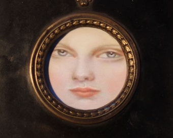 SALE-Sandra Hendler Miniature Original Portrait of a Pale Girl In An Antique Reproduction Ebony & Brass Frame