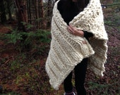 Large Super Chunky Knit Throw Super Soft Cream Shawl Hand Spun Hand Knit Lap Blanket