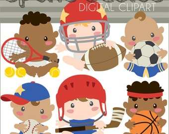 Sports Clipart -Personal and Limited Commercial Use- Basketball, Soccer, Football Baby Clipart
