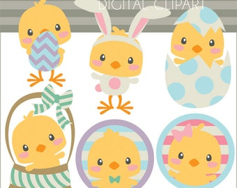 Easter Clipart Spring Chicks -Personal and Limited Commercial Use- spring clipart, Easter clipart, chick clipart