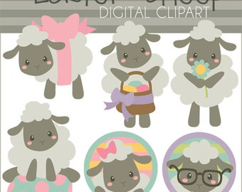 Easter Clipart Spring Sheep -Personal and Limited Commercial Use- spring clipart, Easter clipart, lamb clip art