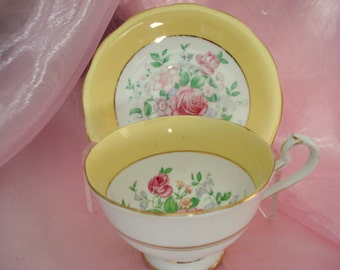 Vintage Shabby Teacup Yellow Queen Anne Pink Rose Bone China England Tea Cup and Saucer Cottage Chic