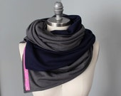 Infinity Scarf, Snap Scarf, Heather Gray and Navy Infinity Scarf, Nursing Scarf