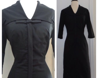 Vintage 1950s Black Wiggle Dress with Accented Collar by Julie Miller / Medium