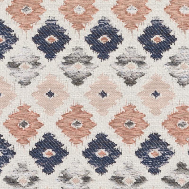 navy blue coral geometric upholstery fabric blue orange ikat. Black Bedroom Furniture Sets. Home Design Ideas