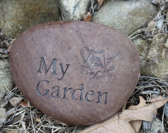 My Garden with Watering Can engraved stone