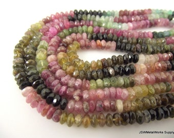 Multi-Tourmaline Faceted Rondelle Beads, Hand-Cut, 3 x 1 mm - 5 x 3 mm