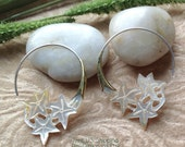 """Tribal Hanging Earrings, """"Starfish Cluster"""" Natural, Mother of Pearl, Brass Tops, Sterling Silver Posts, Hand Carved"""