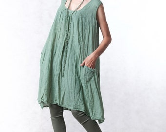 NO.19 Mint Double Cotton Gauze Tunic Top Pleated Front Long Top, Tank Top