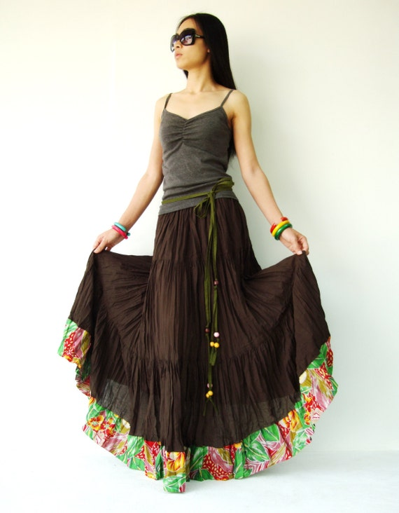 NO.25 Brown Cotton, Hippie Gypsy Boho Tiered Long Peasant Skirt