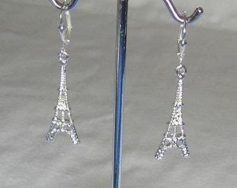 Silver Paris Earrings Eiffel Tower Jewelry French Leverback or FishHook Earwires