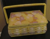 Vintage Yellow and Natural Woven Wicker Sewing Basket -  1950s Atomic