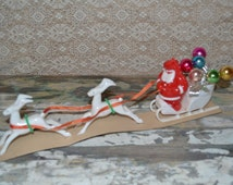E. Rosen Santa Special Sleigh Donner Blitzen Reindeer Vintage Christmas Decoration Epsteam