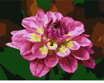 Needlepoint Canvas Dahlia Floral Flower by Pepita