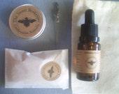 The Sweet Beekeeper Deluxe Trio skin healing combo-Organic face scrub, organic shea lip butter & replenishing face oil.
